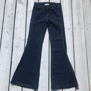 free people bell bottom mid rise wide leg jeans